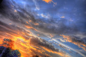 Beautiful sunset in Mainz, Hessen, Germany — Stock Photo