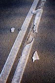 Brocken line of a road marking close-up, Sergiev Posad, Moscow r — Stock Photo