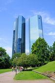 Deutsche Bank Skyscrapers, Frankfurt am Main, Hessen, Germany — Stock Photo