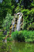 Water fall and a lake in Palmen Garten, Frankfurt am Main, Hesse — Стоковое фото