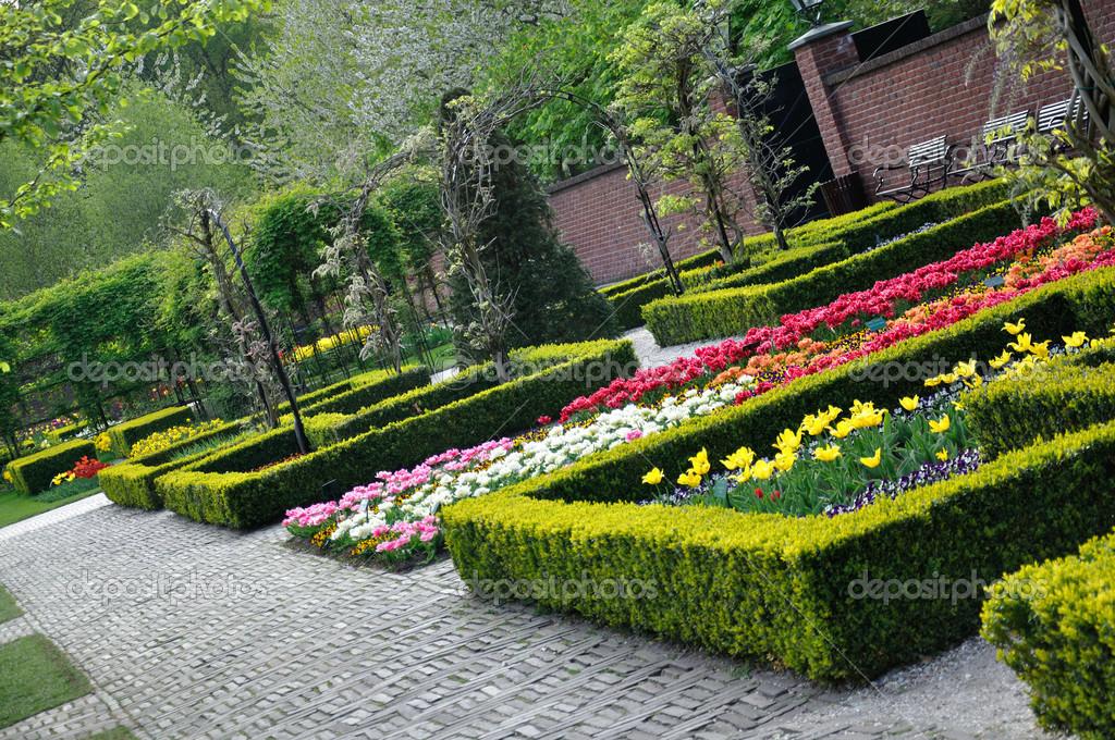 Jard n con arbustos peque os blancos anaranjados y rojos for Arbustos pequenos para jardin
