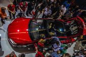 FRANKFURT - SEPT 21: new 2014 Tesla Model S eletric auto present — Stock Photo