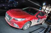 Frankfurt - 21 de setembro: hatchback de mazda 3 apresentada-se como precoce do mundo — Foto Stock