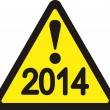 Yellow cautionary road sign 2014 — Stockvector