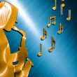 Saxophonist Background Bronze - Blue — Stock Photo #37291515