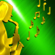 Saxophonist Background Gold - Green — Stock Photo