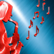 Saxophonist Background Red - Blue — Stock Photo #37291537