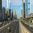 DUBAI, UAE - DECEMBER 23: The development of the Sheikh Zayed Road on December 23, 2013 in Dubai, UAE. Dubai was the fastest developing city in the world between 2002 and 2008 — Stock Photo
