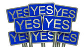 Yes (blue) — Foto Stock
