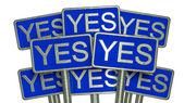 Yes (blue) — 图库照片