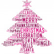 Stock Photo: Christmas tree word clouds in white background with pink words