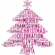 Christmas tree word clouds in white background with pink words — Stock Photo #12197307