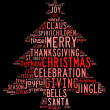 Stock Photo: Christmas tree word clouds in black background