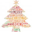 Christmas tree word clouds in white background — Stock Photo