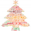 Stock Photo: Christmas tree word clouds in white background