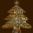 Stock Photo: Christmas tree word clouds in brown background
