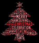 Christmas tree word clouds in black background — Stock Photo