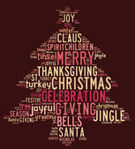 Christmas tree word clouds in red background — Foto de Stock