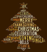 Christmas tree word clouds in brown background — Stock Photo