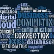 Cloud computing pictogram on blue background — Stock Photo