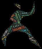 Karate pictogram met kleurrijke woorden op zwarte achtergrond — Stockfoto