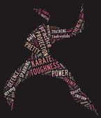 Karate pictogram with pink words on black background — Stock Photo
