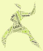 Karate pictogram on green background — Stock Photo