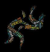 Judo pictogram på svart färgbakgrund — Stockfoto