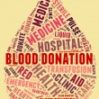 Stock Photo: Blood donation pictogram with red wordings with yellow backgroun