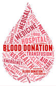 Blood donation pictogram with red wordings — Stock Photo