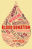 Blood donation pictogram with red wordings with yellow backgroun — Stock Photo