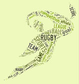 Rugby football pictogram with green wordings — Stock Photo