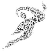 Rugby football pictogram with black wordings — Stock Photo