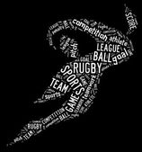 Rugby football pictogram with white wordings — Stock Photo