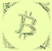 Bitcoin logo word cloud with green wordings — Stock Photo