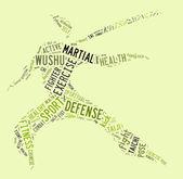 Wushu word cloud med gröna formuleringar — Stockfoto