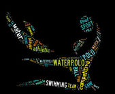 Waterpolo word cloud with colorful wordings — Stock Photo