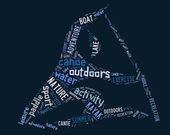 Canoe pictogram with blue wordings — Stock Photo