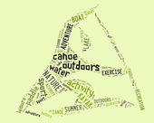 Canoe pictogram with green wordings — Stock Photo