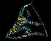 Canoe pictogram with colorful wordings — Stock Photo