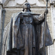 Brussels - cardinal Mercier statue by st. Michaels cathedral - Stok fotoğraf