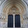 BRUSSELS - JUNE 21: South portal of Notre Dame du Sablon gothic church on June 21, 2012 in Brussels. - Stok fotoğraf
