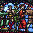 BRUSSELS - JUNE 22 :Jesus for the Pilate. Detail from windowpane in st. Michael s gothic cathedral on June 22, 2012 in Brussels. - Stock Photo