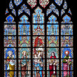 BRUSSELS - JUNE 22: Reconstructed windowpane from gothic cathedral Notre Dame du Sablon on June 22, 2012 in Brussels. — Stock Photo