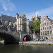 GENT - JUNE 23: Houses from Graselei street and st. MIchael church and bridge on June 23, 2012 in Gent, Belgium. — Stock Photo
