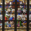 BRUSSELS - JUNE 21: Last super of Christ. Detail of windowpane from st. Nicholas church on June 21, in Brussels. - Stock Photo