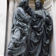 Stock Photo: Florence - Christ and apostle Thomas on the facade of Orsanmichele