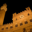 Siena - Town-hall and Torre del Mangia in the night — Stock Photo