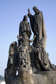 Prague - statue from Charles bridge - st. Methodius and Cyril — Stock Photo