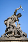 Prague - statue on the portal from castle — Stock Photo